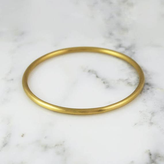 94494fd64f6 3.25mm Full Round Solid Gold Bangle Bracelet Simple Gold image ...