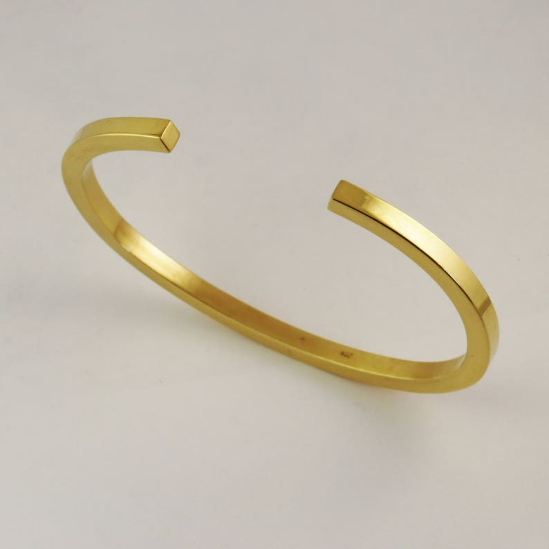 87265cf74476f Solid Gold 5mm Square Open Cuff Bracelet - Heavy Mens Womens Unisex 14k 18k  22k 24k Gold