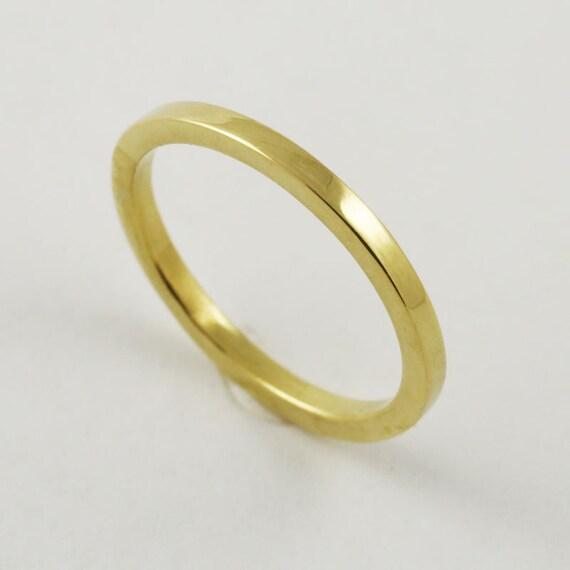 1 7mm Flat Edge Square Gold Wedding Ring 14k 18k 22k Etsy