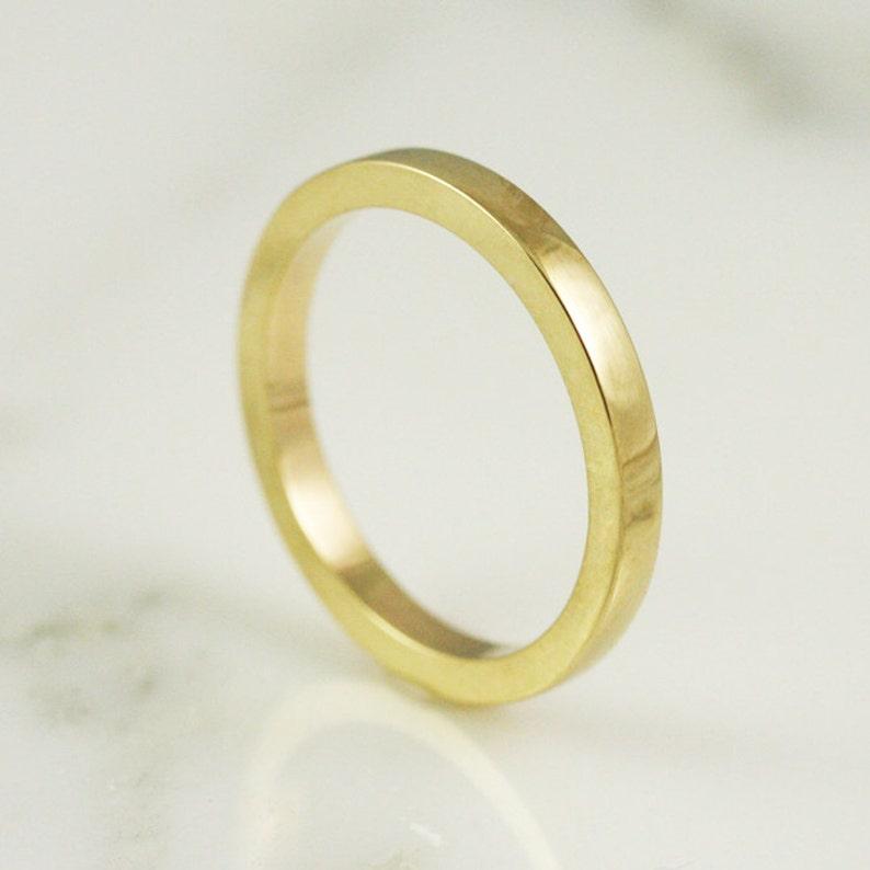decef05d20463 2.5mm x 2mm 14k / 18k / 22k / 24k Gold Rectangle Wedding Band - Solid  Yellow Gold