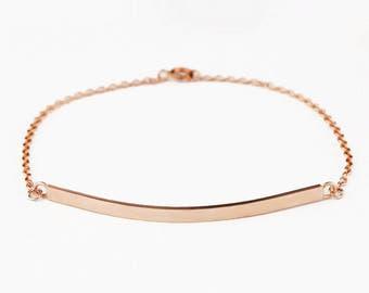 Solid 14k Gold Bar Bracelet - Personalized Bracelet / ID Bracelet - Coordinate Braclet - Rose Yellow White Gold