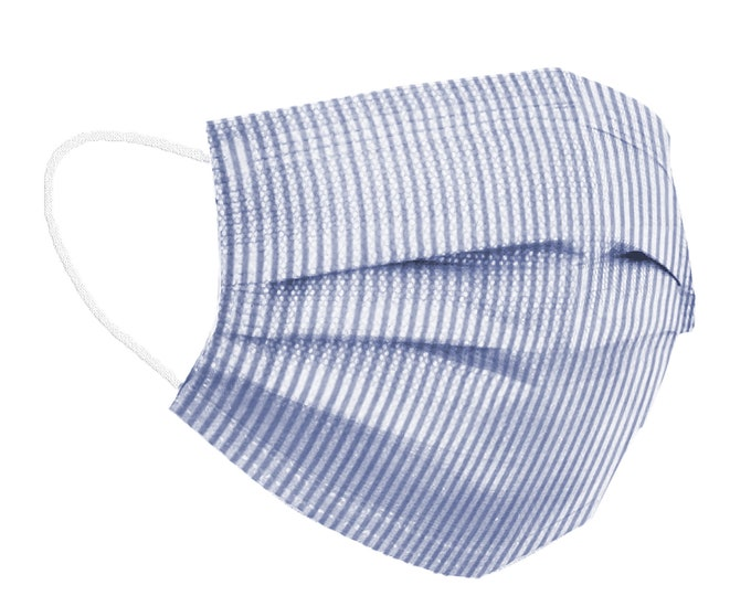 Featured listing image: Seersucker Washable Face Mask with Filter Pocket/ Reusable Face Mask/ Cotton Face Mask/ Adult/ Kids/ Adjustable & Replaceable Elastics