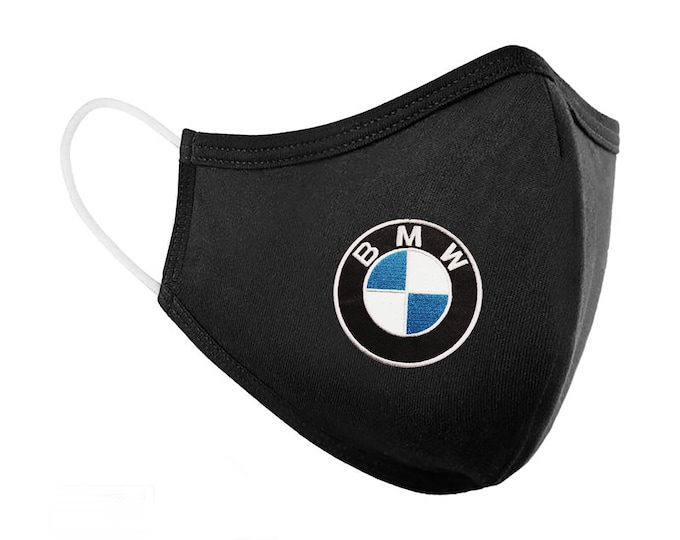 Featured listing image: BMW and M Series Logo Embroidered Washable Face Mask with Filter Pocket/  Reusable Face Mask / Logo Mask/ Company Mask/ 4-Layer