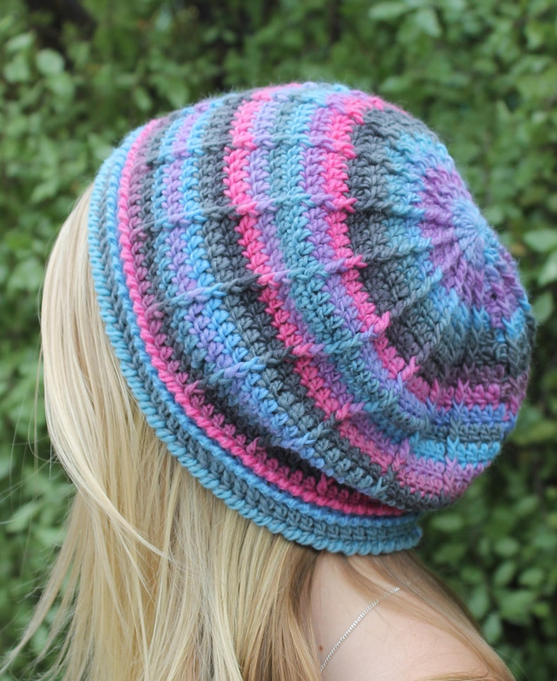 Crochet Pattern  Textured Beanie. 3 different styles in one. image 0
