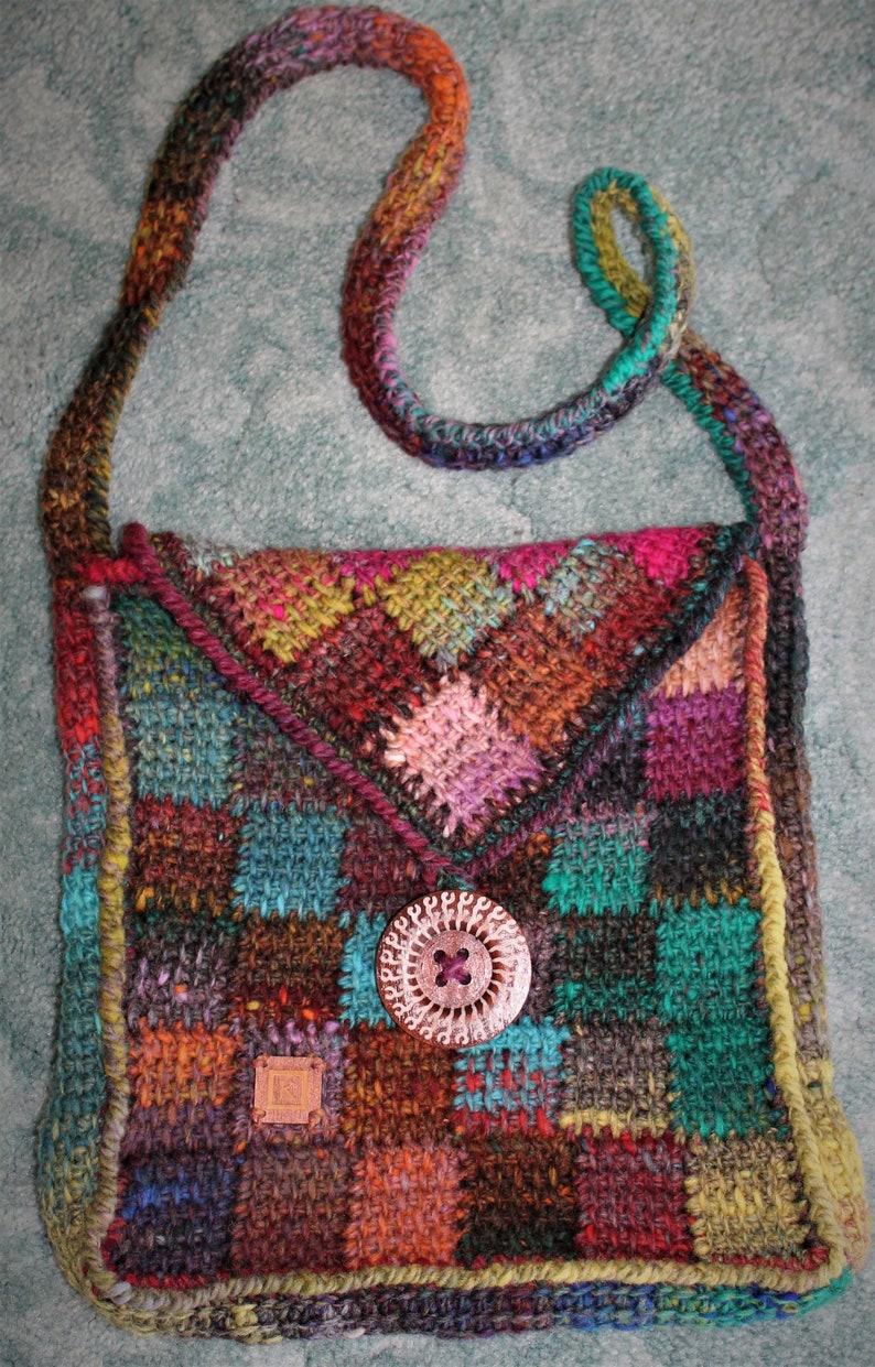 Crochet Pattern  Entrelac shoulder bag image 0