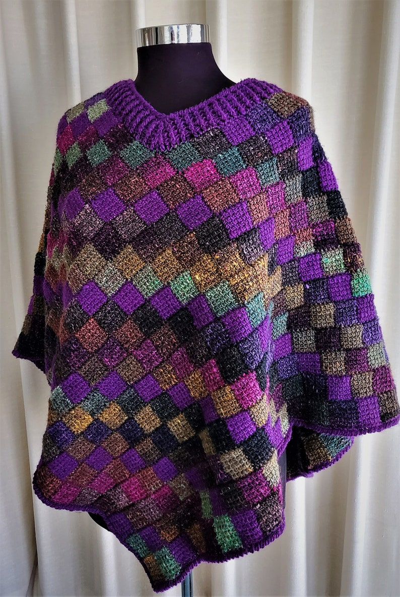 Crochet pattern  Entrelac poncho using a simple tunisian image 0