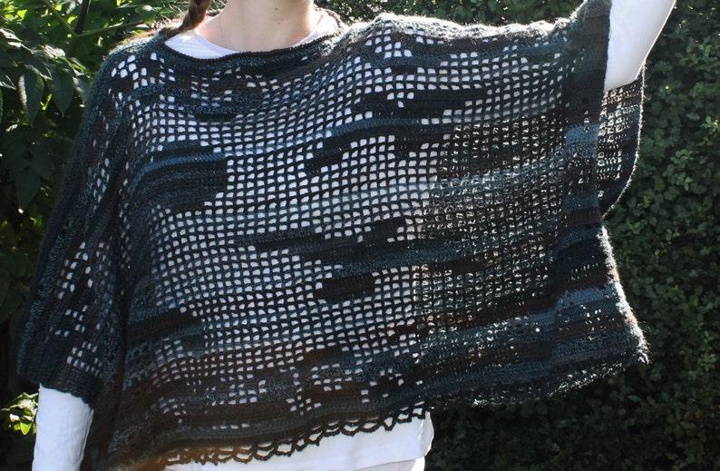 Crochet Pattern  Filet crochet square poncho. Into the Sun image 0