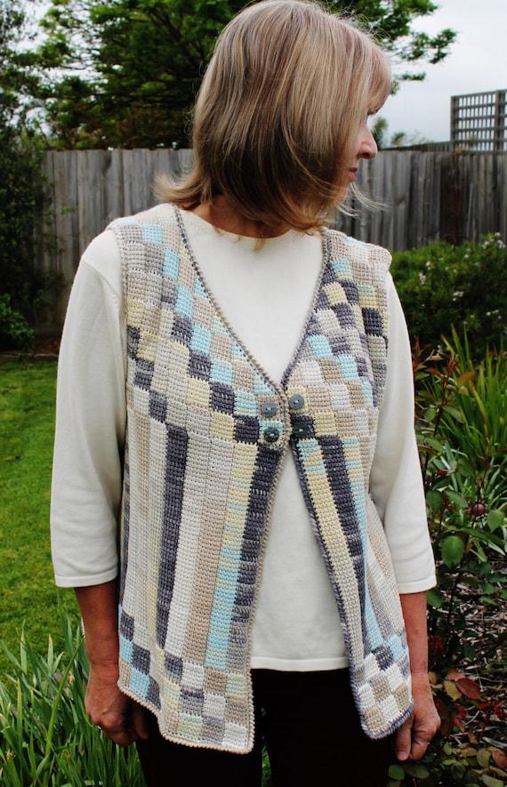 Crochet pattern for an Entrelac cotton vest using a simple
