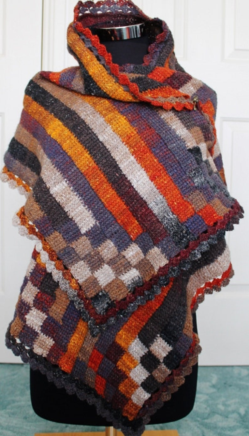 Crochet Pattern  Stripy Entrelac wrap using a simple tunisian image 0