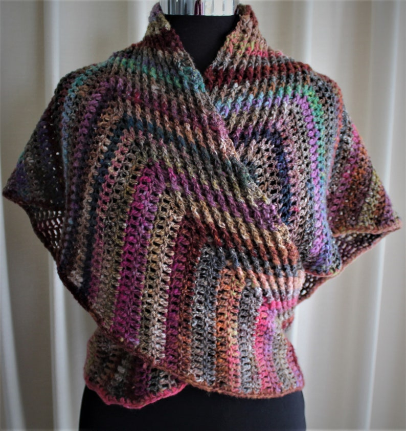 Crochet Pattern  Past Connections wrap around shawl image 0