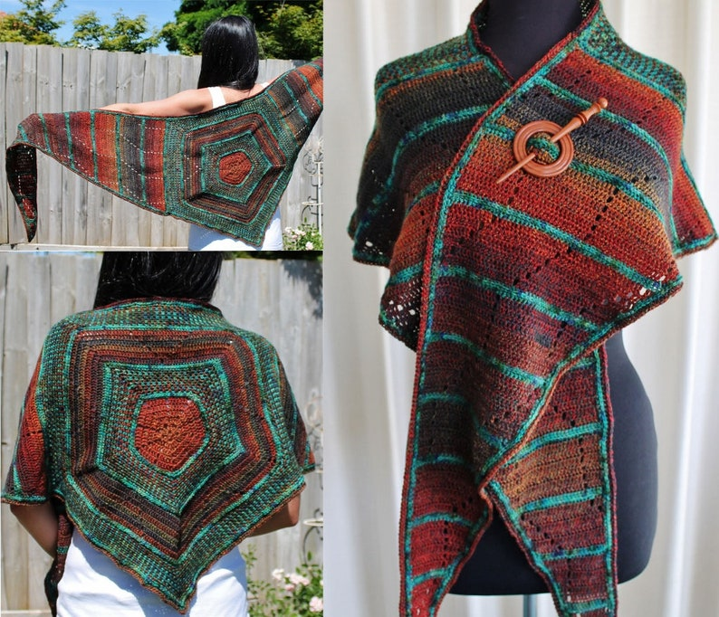Crochet Pattern  Pentagon Shawl image 0