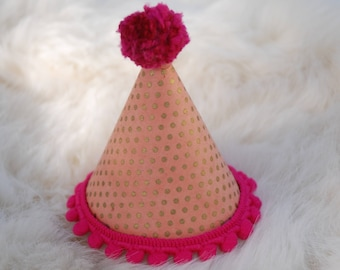Pink and Gold Pom Party Hat