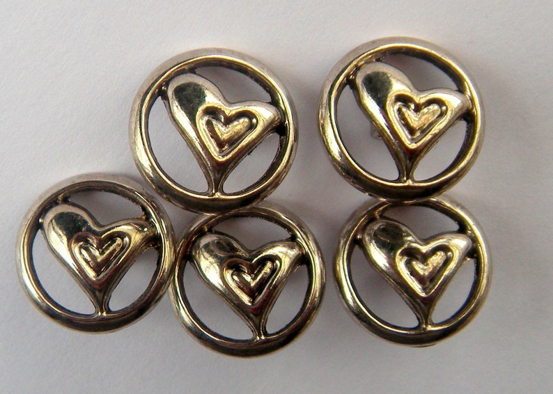 5 Silver Abstract Heart Buttons, 18 mm, Shank, Asymmetrical Heart in Round  Frame, Lightly Antiqued, Cut Outs, Button Jewelry, Coat Button