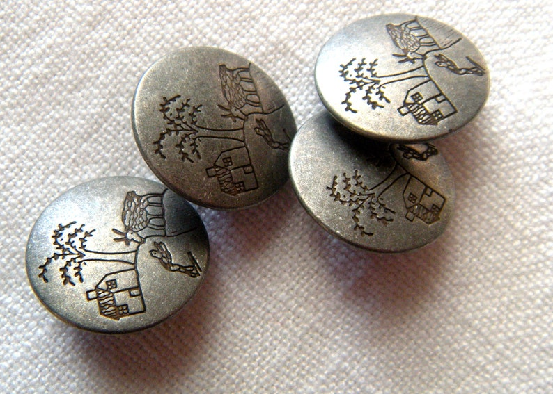 Modern Picture Buttons 4 Antiqued Silver Grey 20 mm Primitive Country Scene Button Jewelry House,Tree Low Shine Shank Coat Button