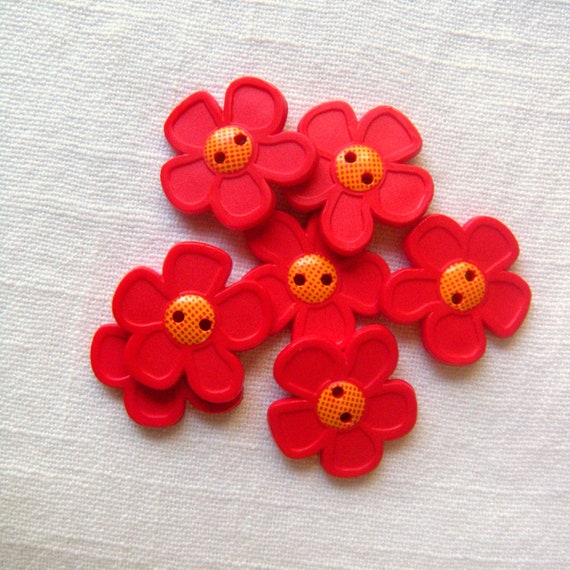 7 Pop Art Paprika Red Flower Buttons 28 Mmlow Gloss Etsy