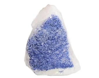 Dumortierite Blue fibrous crystals on quartz,  Gemstone Mined in the gem fields of Brazil, Natural Rare Mineral Specimen