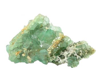 Fluorite Vivid Mint Green Fluorite Crystal Cluster with Quartz, Collector's Choice Mineral Specimen South Africa