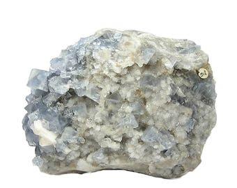 Fluorite BIG Blue Cube Crystals on Barite Quartz Rock matrix Mineral Specimen Multi hue blue Estate Geo Collection, 2 sides, Large USA Stone