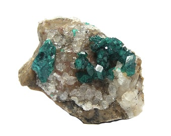 Dioptase Emerald Green Crystal Druzy on rock matrix Mineral Specimen from Kazakhstan,  Raw Crystal Gemstone, Display Specimen or Focal Stone