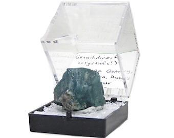 Grandidierite Rare Blue Green Crystal, Fine Thumbnail Mineral Specimen for the Expert Collector, in Museum Display Box.