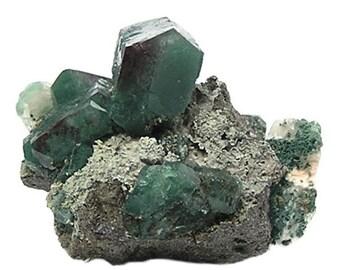 Apophyllite, blue green and red blocky Gem crystals Zeolite Geo Specimen for a gemstone collection, Indian Fine Mineral