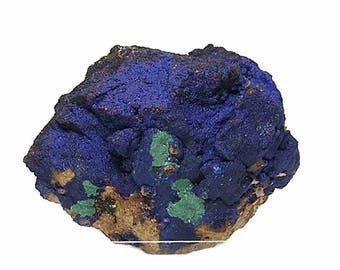 Azurite Blue Crystalline Druzy with Green Malachite on Rock Matrix from Morocco, Atlas Mountains, Mineral Specimen, Lapidary Rough