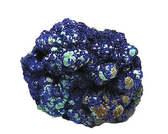 Blue Azurite with green Malachite on Red Copper Rock Matrix Mineral Specimen from Morocco, Outstanding Display Gem Collector's Choice