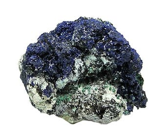 Azurite Sparkly Blue Crystalline Druzy with green Malachite on rock matrix Mineral Specimen, Focal stone from Emma Mine New Mexico, USA Gem