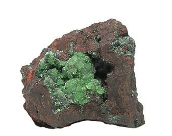 Conichalcite green included in glistening druzy crystalline calcite in rock matrix Mineral Specimen mined in Mexico in the 1980s