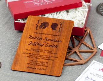 "Solid Wood Wedding Invitation Suite Sample Set - ""Facial Silhouettes"" Design Engraved on Padauk - Plus Credit Towards Final Order"