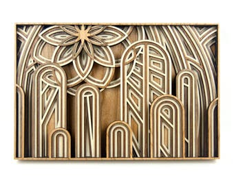 "Layered 3D Wood Art - ""The Cathedral"" - Version C - Unique Laser Cut Wall Artwork"