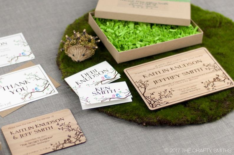 Simple Love Birds Design Engraved on Lyptus Solid Wood Wedding Invitation Suite Sample Set Plus Credit Towards Final Order