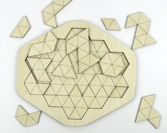 Corte del Laser de triángulos de madera rompecabezas geométrico - 16 piezas