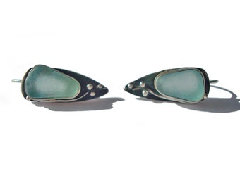 Sea Glass Silver Earrings. Genuine sea-glass. Ocean-blue beach glass. 100% handmade earrings.Nature earrings.
