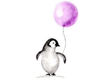 Penguin Art print, watercolor art, nursery art, penguin wall art, 8x10
