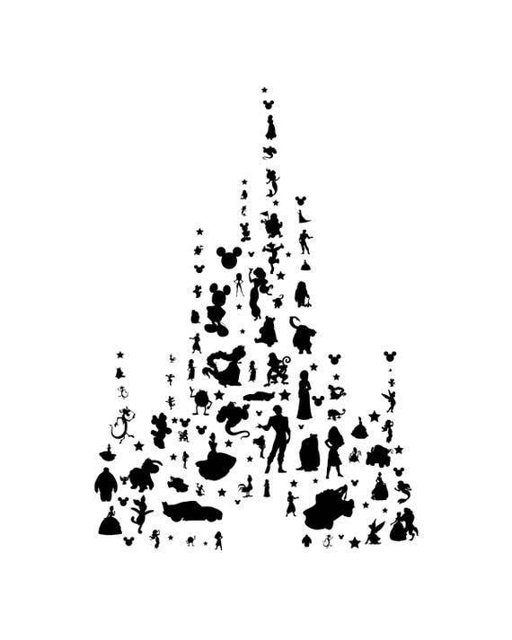 Chateau De Disney Personnalise Avec Des Personnages Jpeg Et Etsy