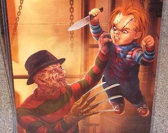 muppets fozzie bear vs chucky glossy art print 11 x 17 in hard etsy