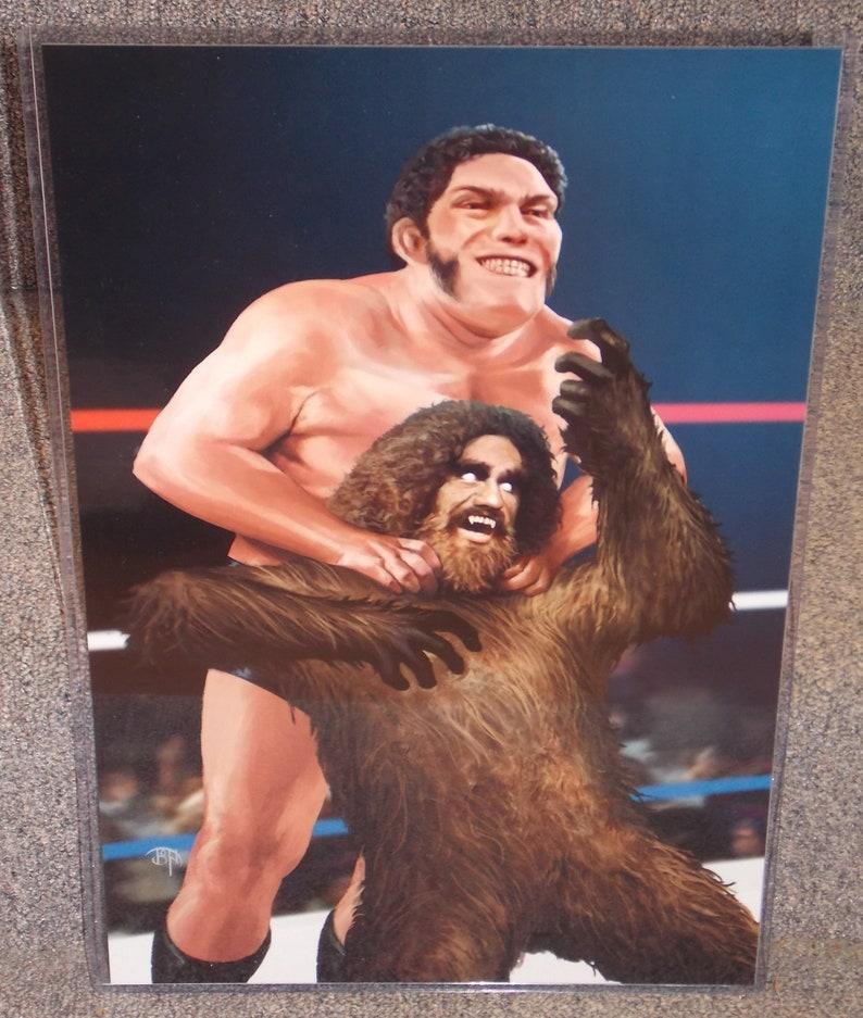 Andre The Giant vs Big Foot wrestling Glossy Art Print 11 x 17 In Hard Plastic Sleeve