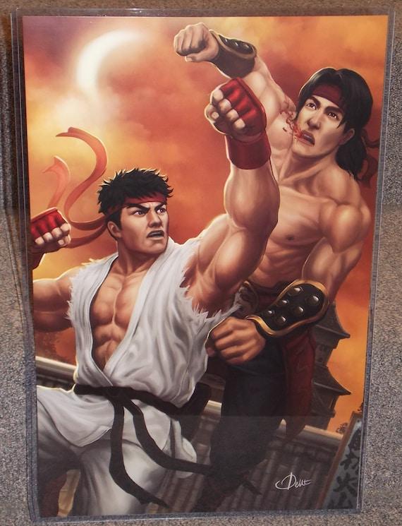 Mortal Kombat Liu Kang Vs Street Fighter Ryu Glossy Art Print Etsy