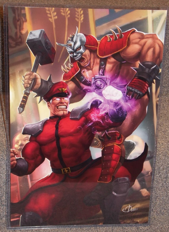 Mortal Kombat Shao Kahn Vs Street Fighter M Bison Glossy Art Etsy