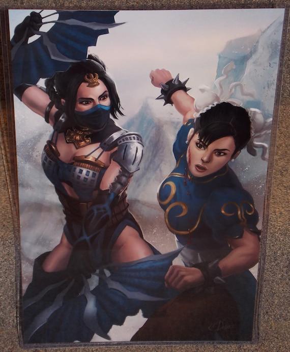 Mortal Kombat Kitana Vs Street Fighter Chun Li Glossy Art Print 11 X 17 In Hard Plastic Sleeve