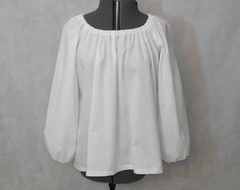 Women/'s White Renaissance 3//4 Sleeve Costume Shirt
