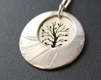 Tree in Landscape, Silver Feather Pendant, silver tree jewellery, Sterling silver pendant.