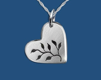 Love Grows, Heart Pendant, Growing Love Pendant, Leafy Heart Pendant, Sterling Silver Jewellery, Silver Pendant.