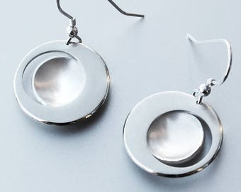 Eclipse Earrings, Silver Jewelry, Silver Jewellery, Silver Earrings, Modern Earrings, Contemporary Earrings, Abstract Earrings.