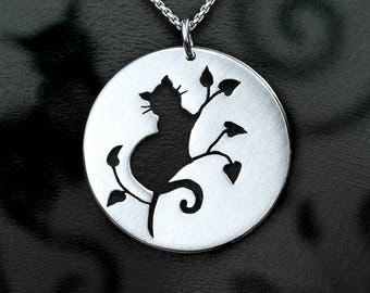 Cat Pendant, Silver Jewelry, Silver Pendant, Silver Jewellery, Cat Jewelry.