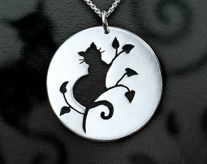 Featured listing image: Cat Pendant, Silver Jewelry, Silver Pendant, Silver Jewellery, Cat Jewelry.