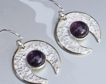 Hammered 'Genie' Earrings, Amethyst Earrings, 'Genie' Earrings, Silver Jewellery, Sterling Silver Earrings.