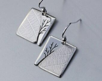 Tree Leaf Earrings, Handmade Sterling Silver Jewelry, Silver Jewellery, Silver Earrings, Earrings.