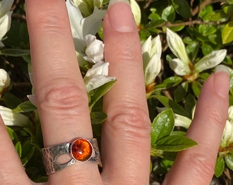 Amber Hammered Ring, Amber ring, Hammered Silver Band.